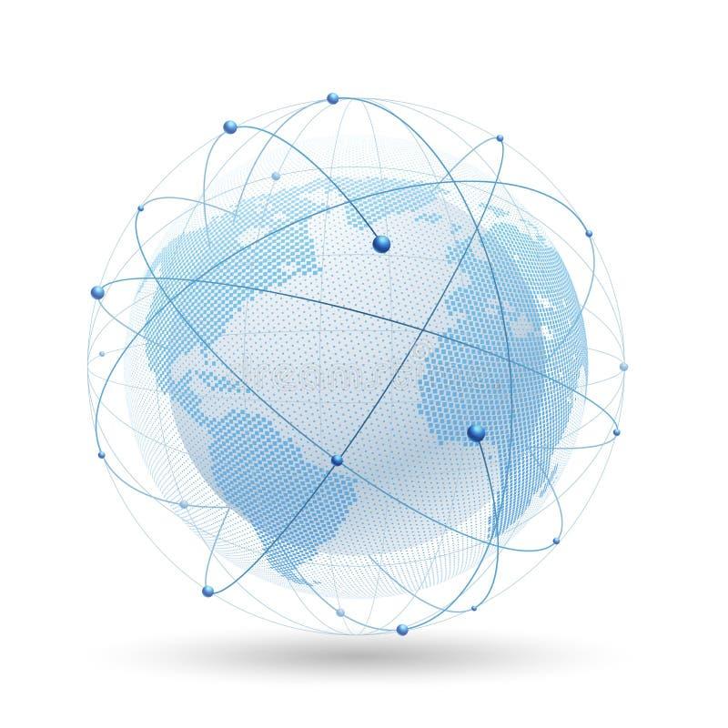 地球现代网络 向量 库存例证