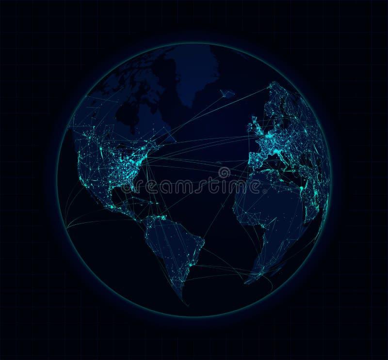 地球球形通信全球性技术 向量 库存例证