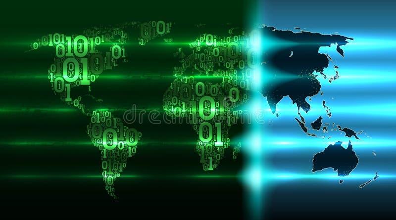 地球的世界地图与大陆的从二进制编码有抽象电路板背景,电子 皇族释放例证