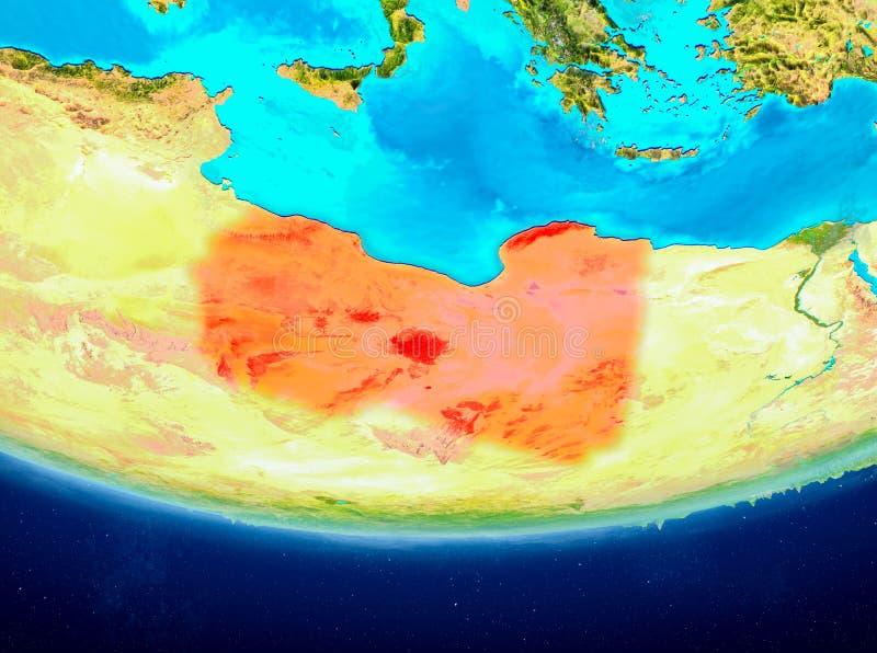 地球的利比亚从空间 皇族释放例证