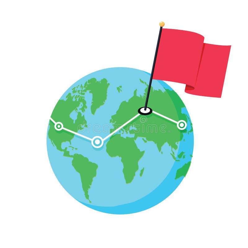 地球的地图的地点 Geo位置,网络,全球性通信,交货地点 库存例证