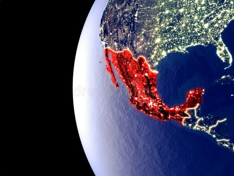地球的墨西哥从空间 库存例证