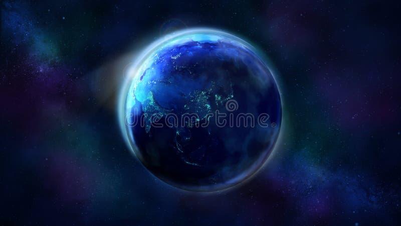 地球的夜一半从显示亚洲、澳大利亚和大洋洲的空间的 免版税图库摄影