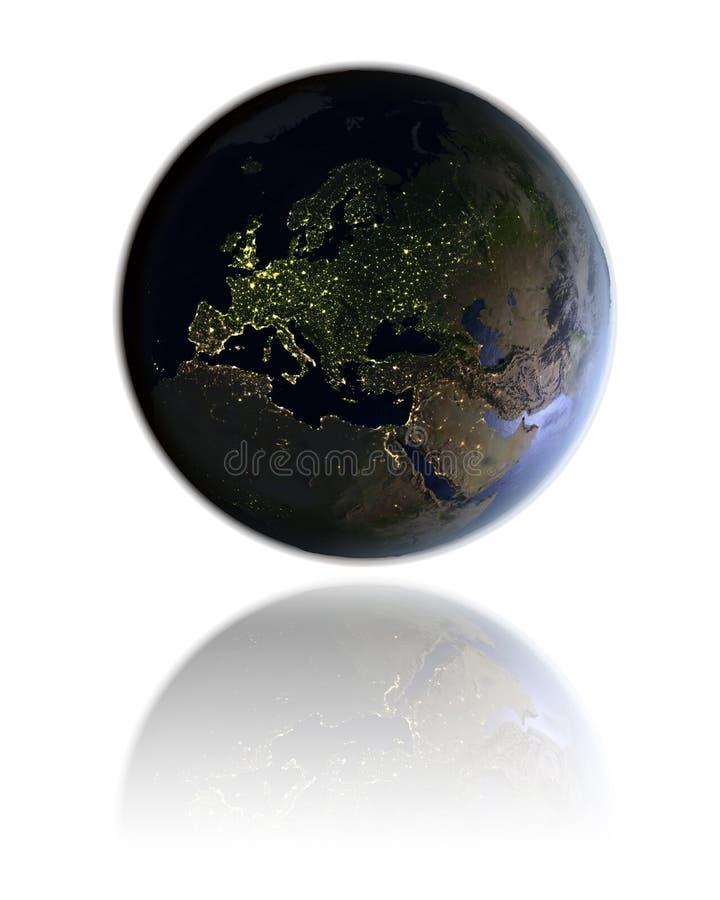地球的欧洲在晚上 库存例证
