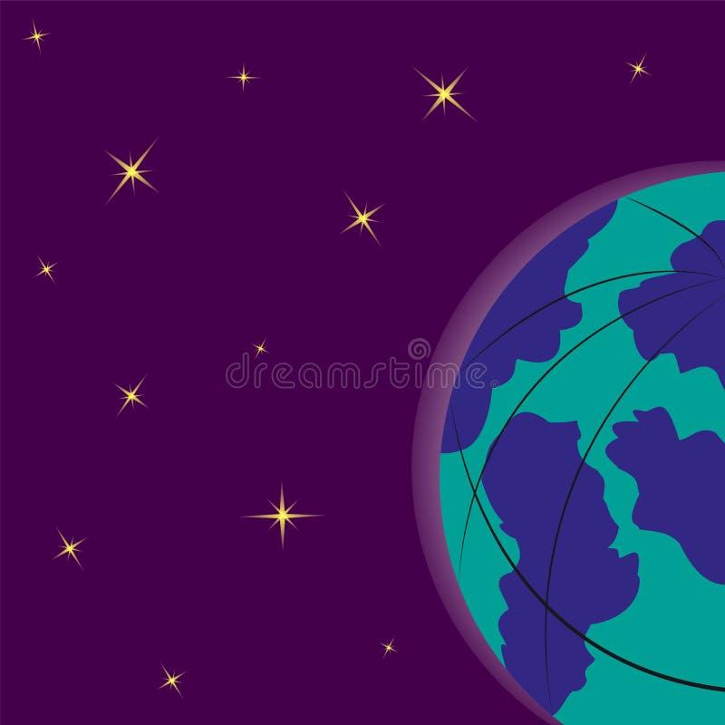 地球的满天星斗的背景和一半 向量例证