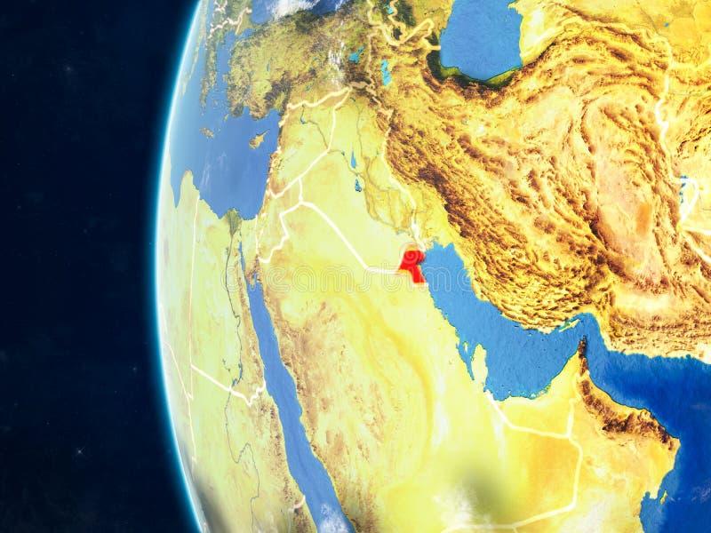 地球的科威特从空间 库存例证
