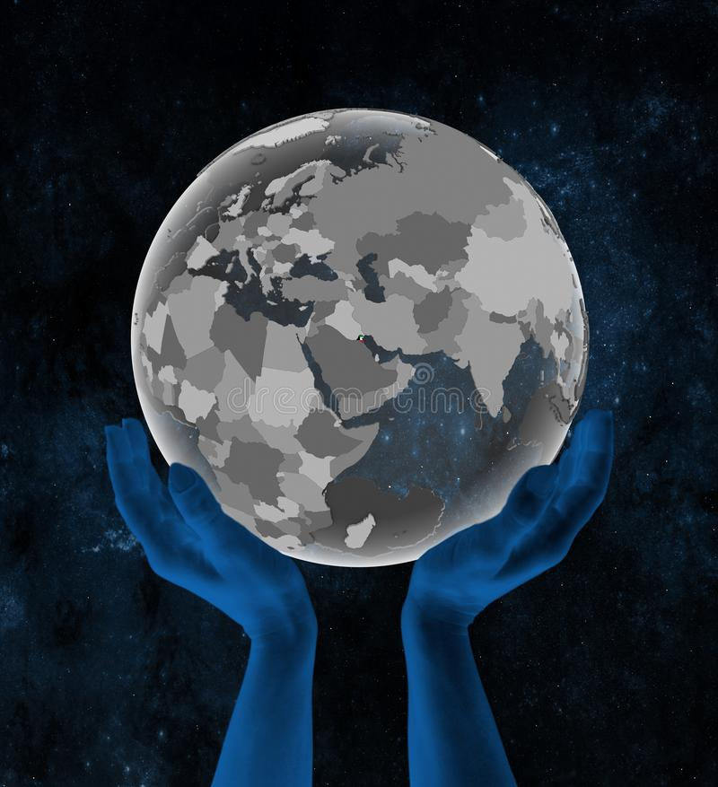 地球的科威特在空间的手上 向量例证