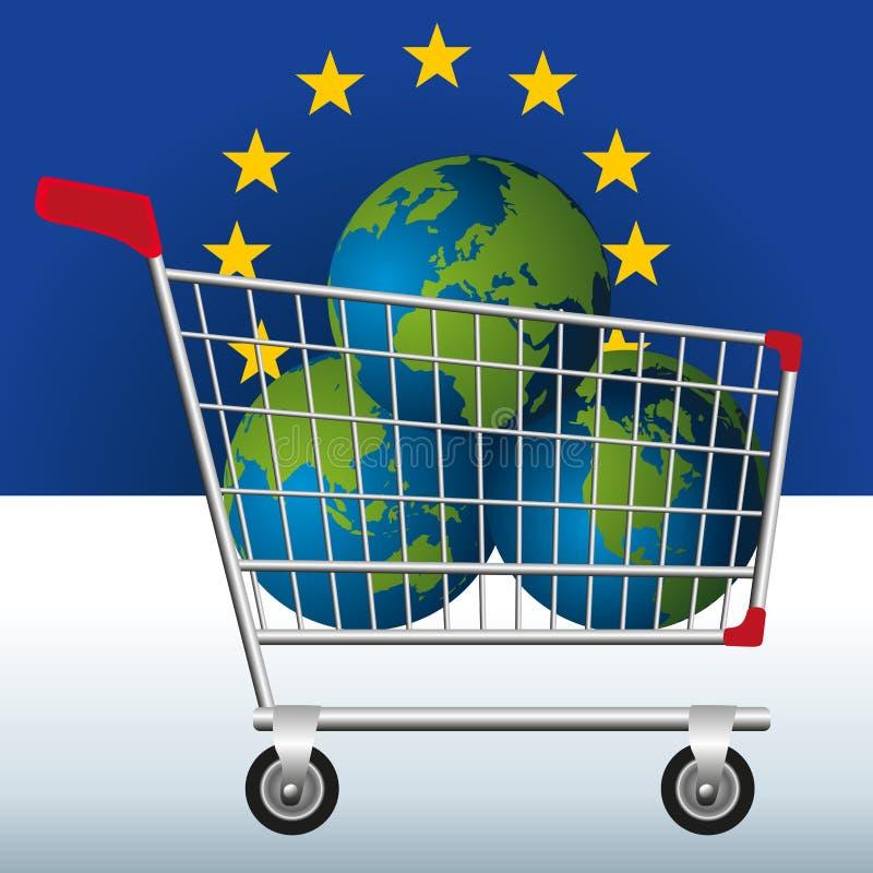 地球的自然资源的过份开发的概念由欧洲人的有在一辆小型运车的三个行星的对symb 库存例证