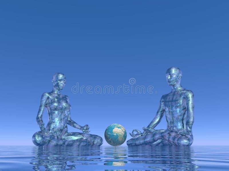 地球的蓝色凝思- 3D回报 库存例证