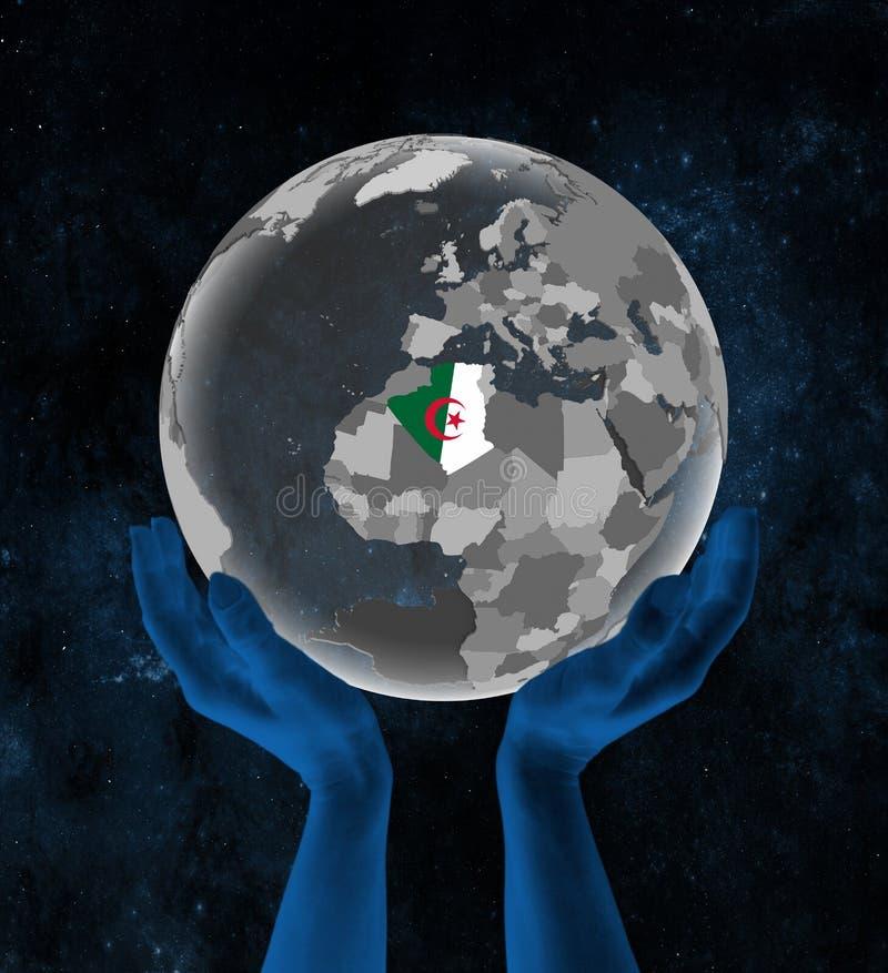 地球的阿尔及利亚在空间的手上 库存例证