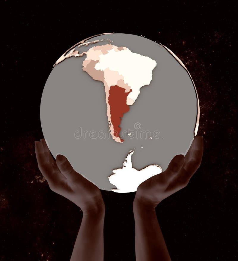 地球的阿根廷在手上 皇族释放例证