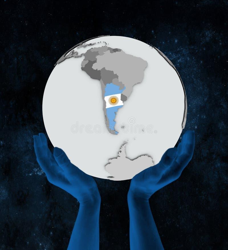 地球的阿根廷在手上 库存例证