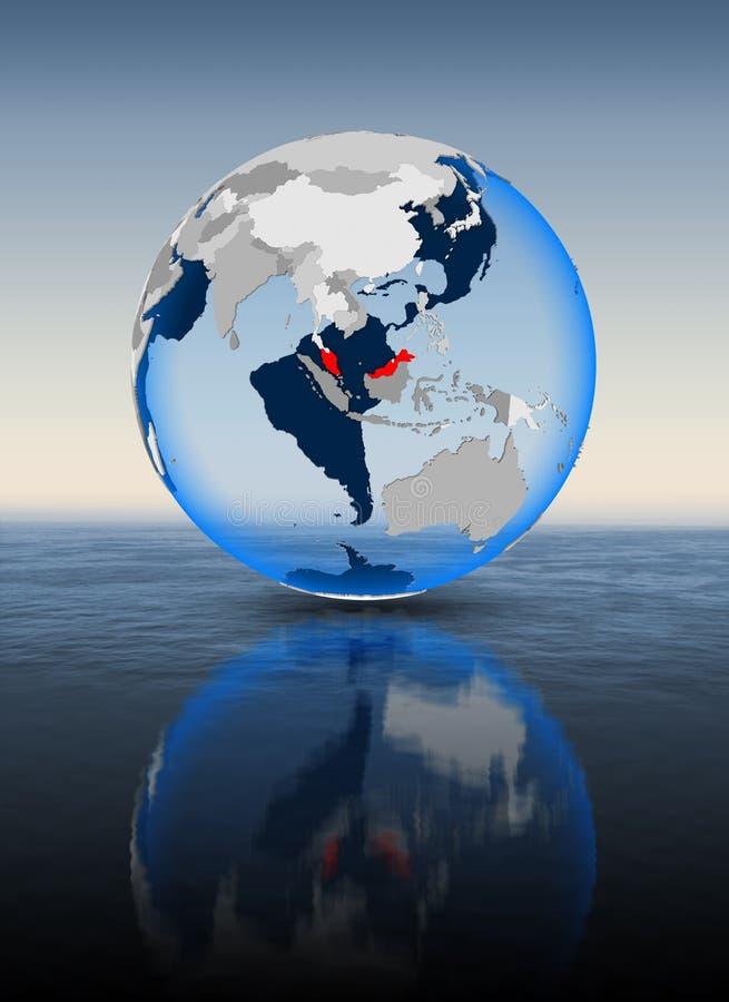 地球的马来西亚在水中 皇族释放例证