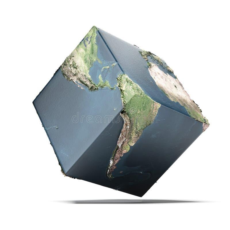 地球立方体 库存例证