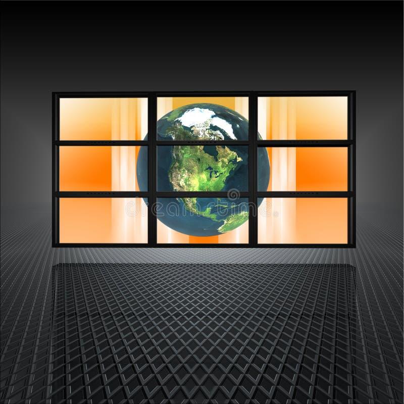 地球筛选视频墙壁 库存例证