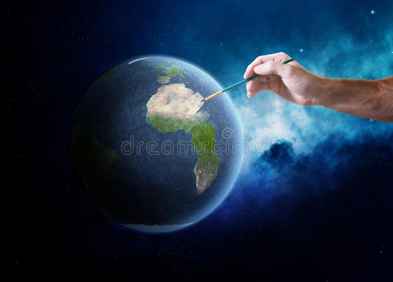 地球绘画 库存例证