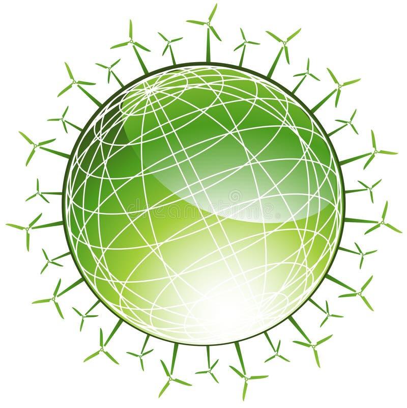 地球绿色周围的风车 皇族释放例证