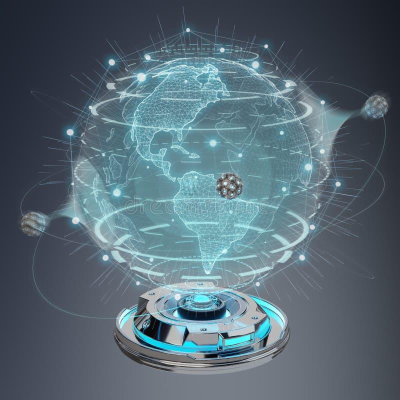 地球网络有数字式连接的3d全息图放映机烈. 全息图, 网络.