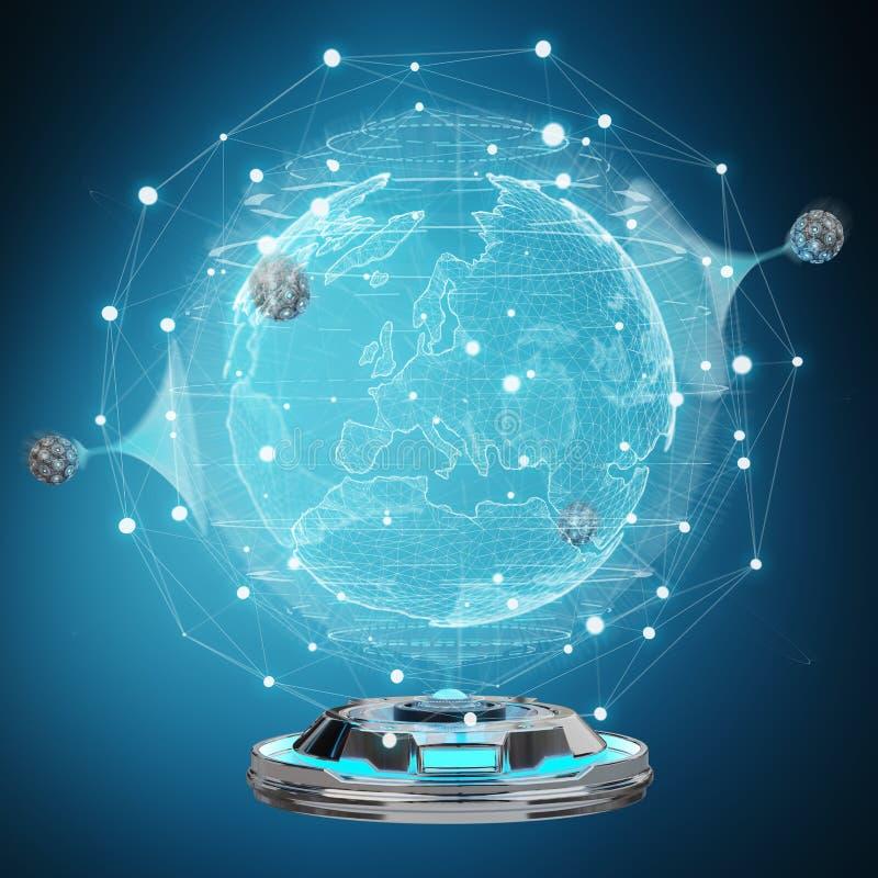 地球网络有数字式连接的3D全息图放映机烈 向量例证