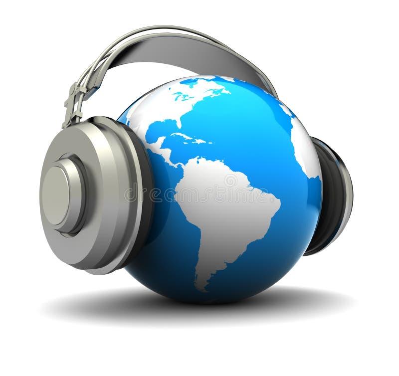 地球耳机 库存例证