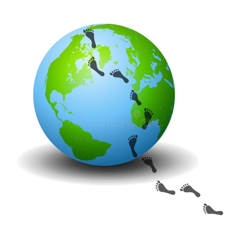 地球脚印行 库存例证
