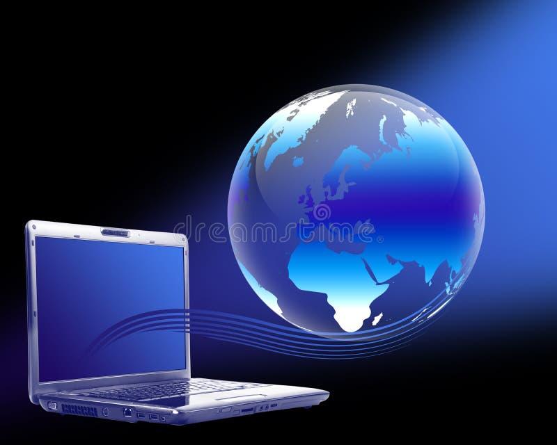 地球膝上型计算机 库存例证
