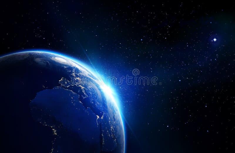 地球蓝色发光-天际和星 库存例证