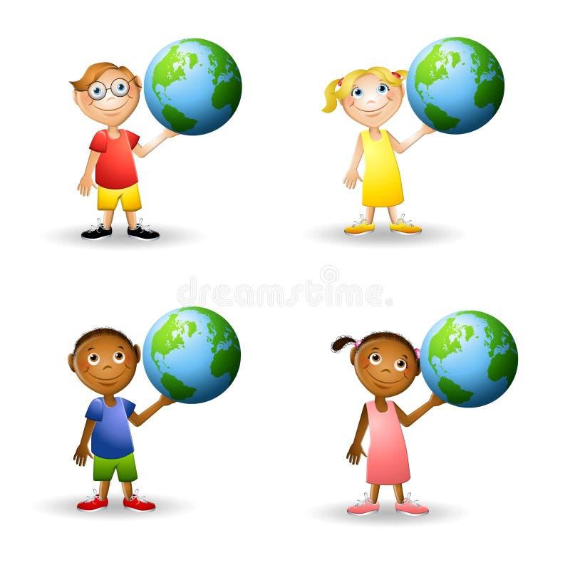 地球藏品孩子 库存例证