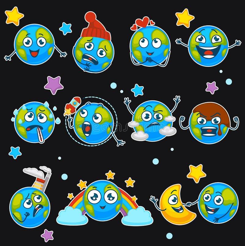 地球行星与另外表示传染媒介的动画片意思号emoji微笑isoalted被设置的象 向量例证