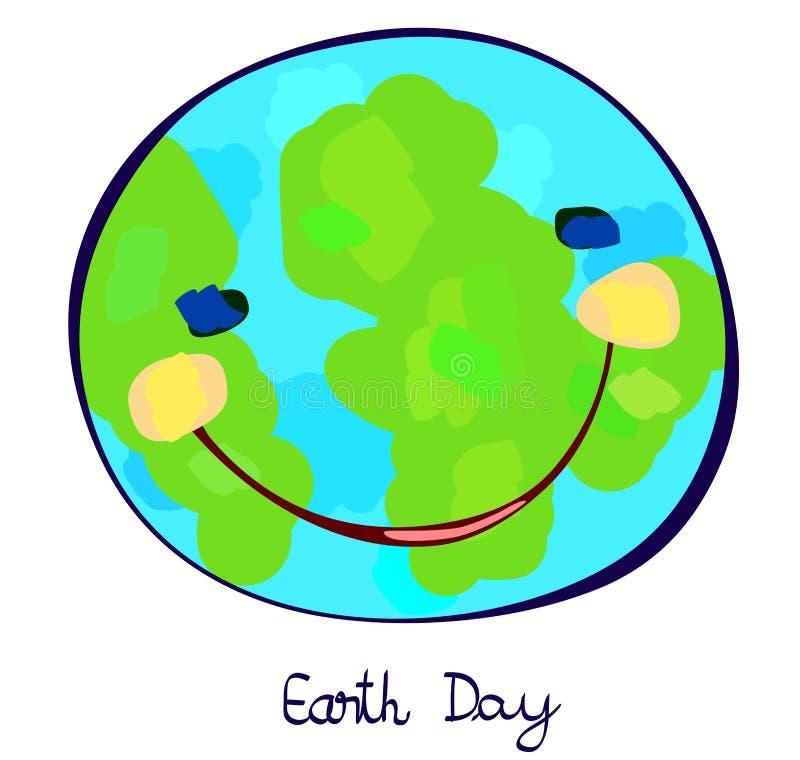 地球行星庆祝天,纯稚绘画 库存例证