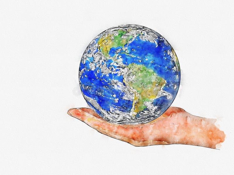 地球行星水彩在白色隔绝的女性手上 库存例证