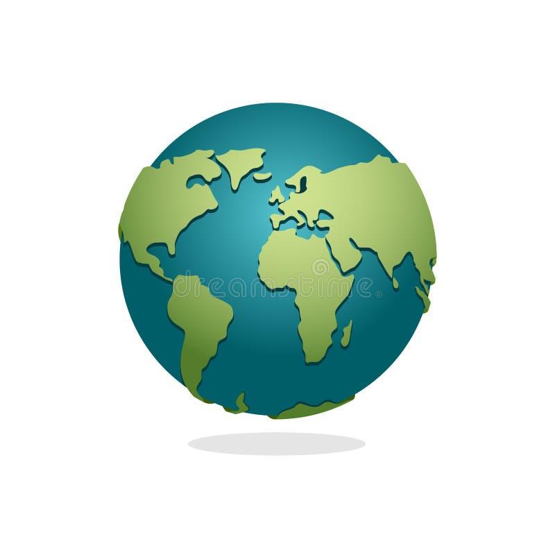 地球行星 地球的标志 在白色背景的空间地球 库存例证