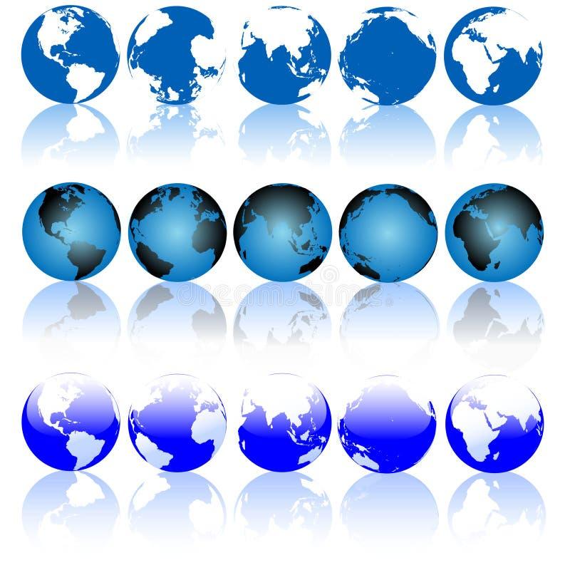 地球被设置的地球反映 向量例证