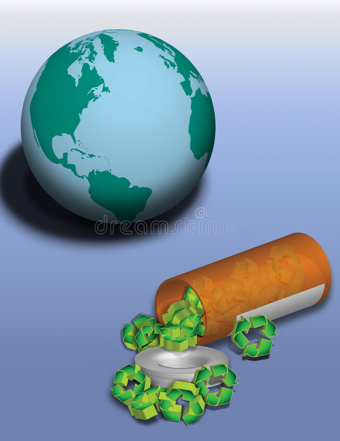 地球规定回收 库存例证