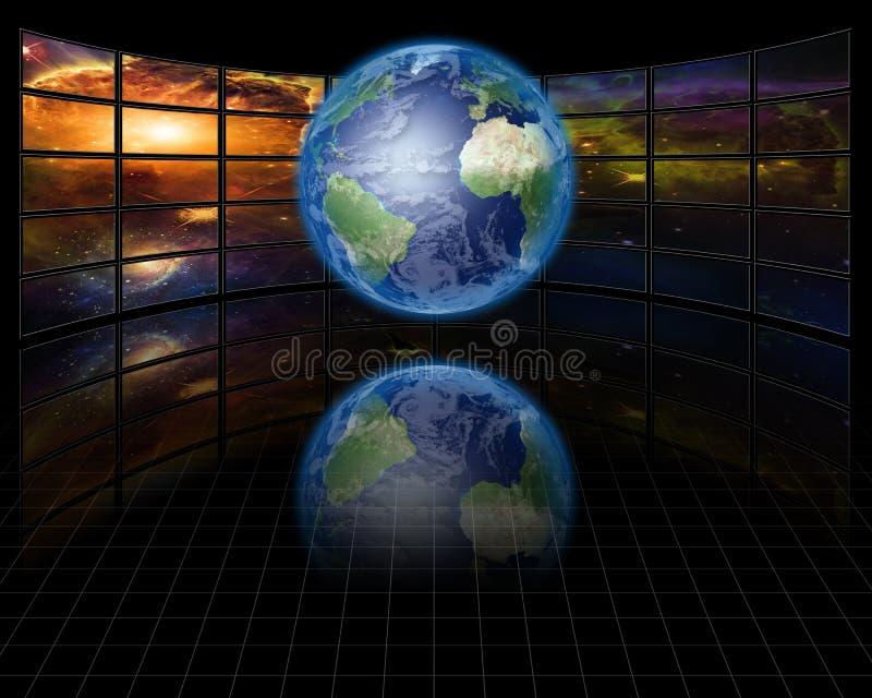 地球视频屏幕 库存照片