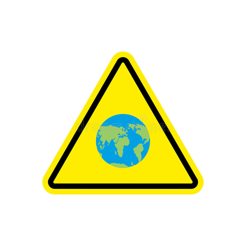 地球警报信号黄色 行星危险注意标志 Dange 皇族释放例证