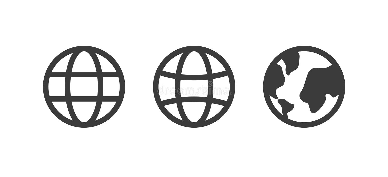 地球象,世界传染媒介标志,地球集合,汇集 互联网概念,在网站的白色,平的设计隔绝的地图标志 库存例证