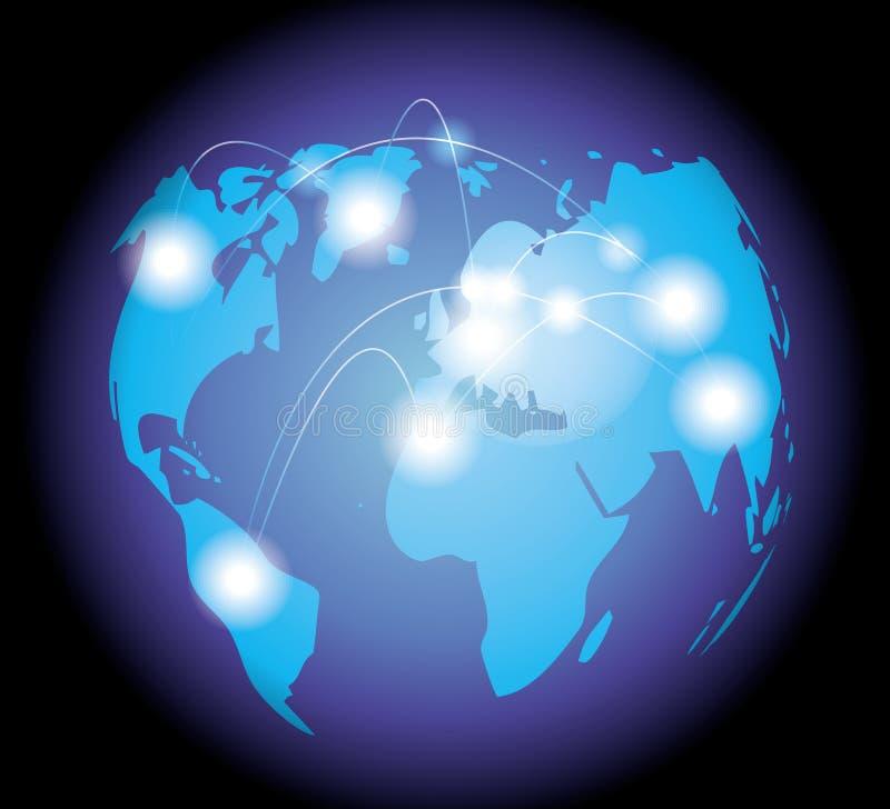 插画 包括有 网络, 现代, 净额, 水晶, 全球, 科学, 技术, 金子