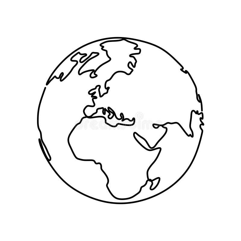 地球连续的一线描在白色背景的传染媒介例证 皇族释放例证