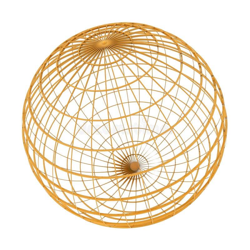 地球金黄wireframe 向量例证