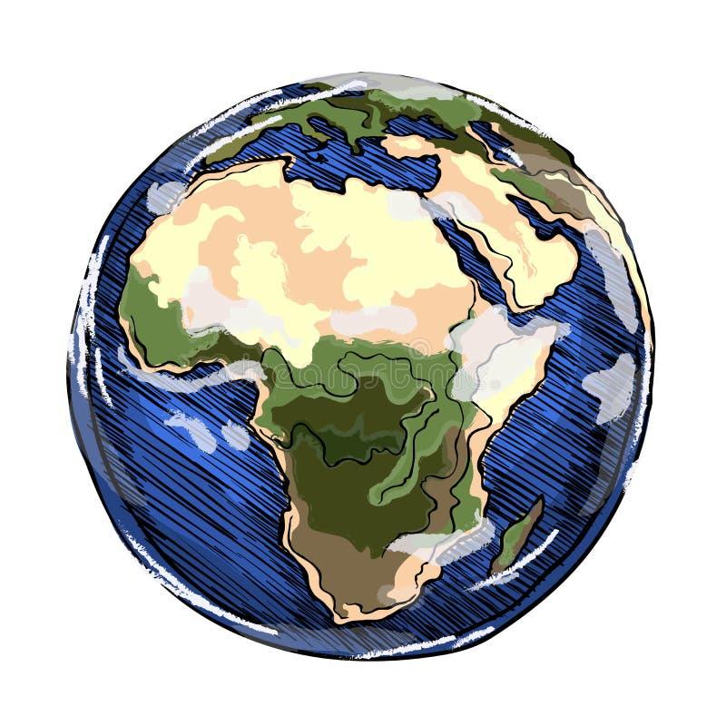 地球非洲大陆 库存例证