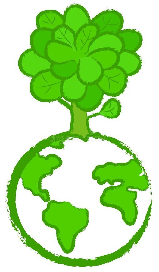 地球风格化结构树 库存例证