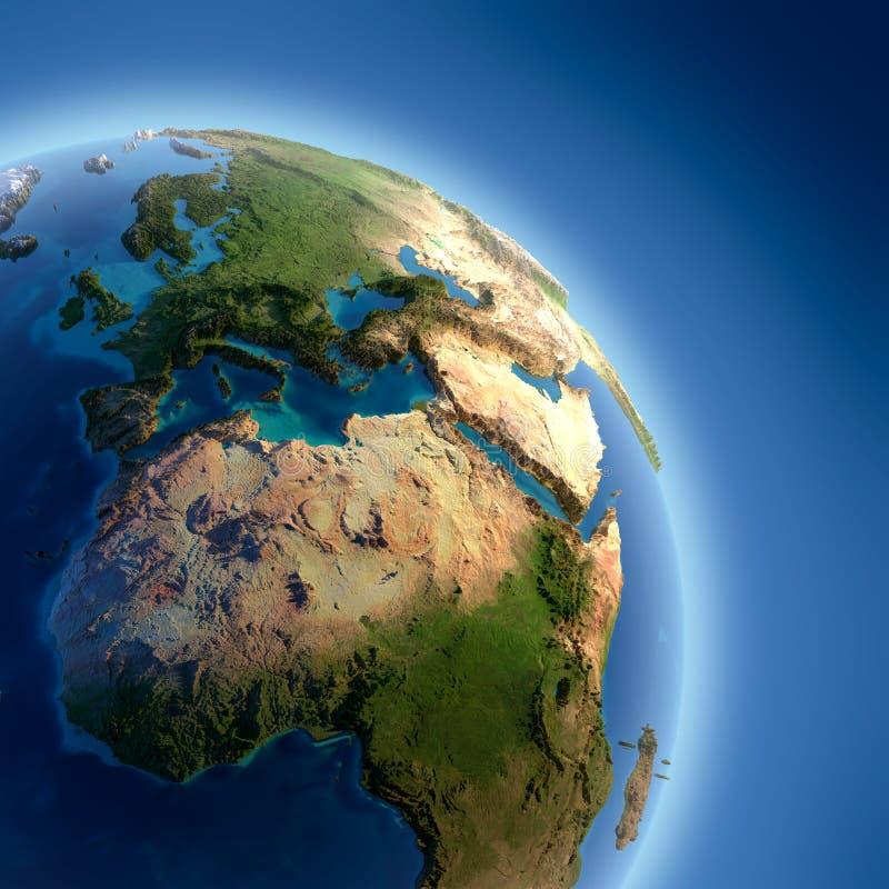 地球高被阐明的替补 库存例证