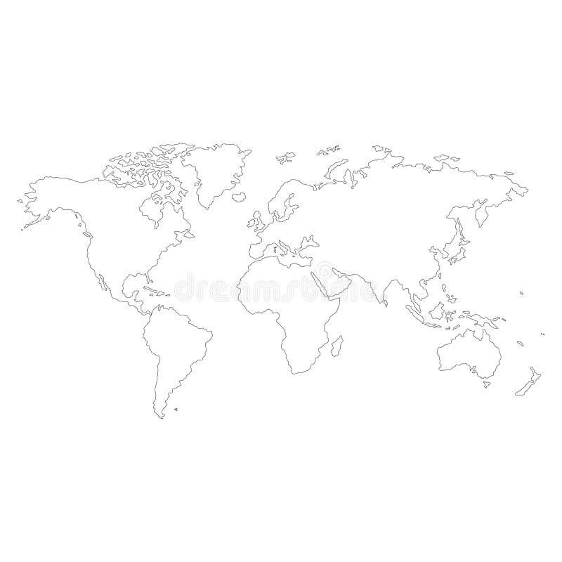 地球,在白色背景的世界地图 也corel凹道例证向量 免版税图库摄影
