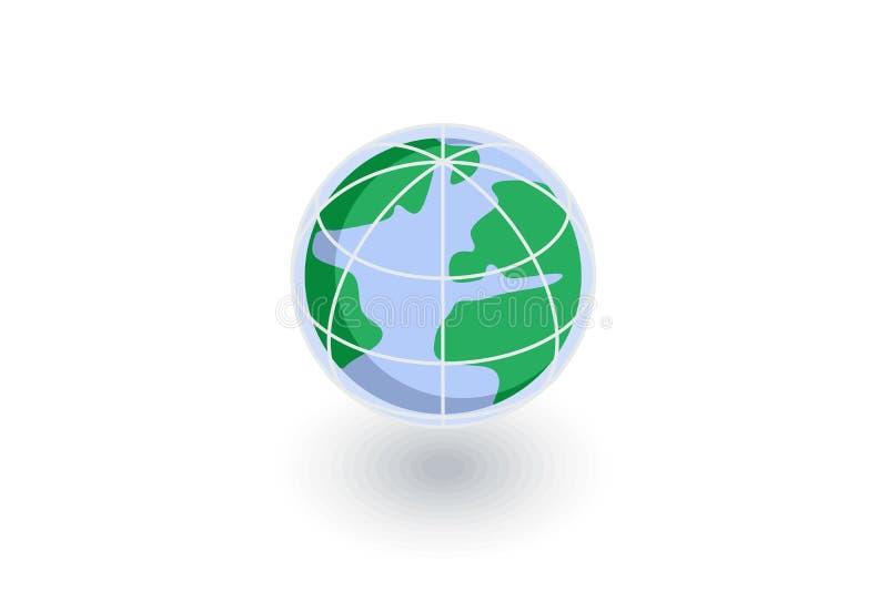地球,地球等量平的象 3d向量 皇族释放例证