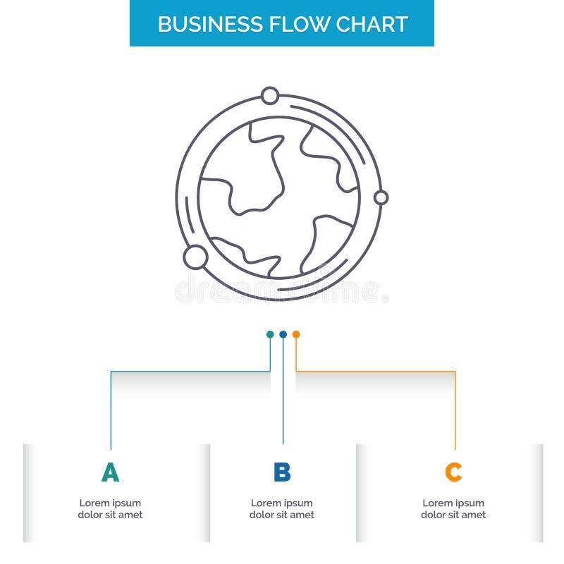 地球,地球,世界,地理,发现企业与3步的流程图设计 r 库存例证