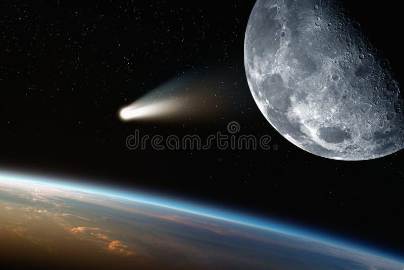 地球,月亮,在空间的彗星 免版税库存照片