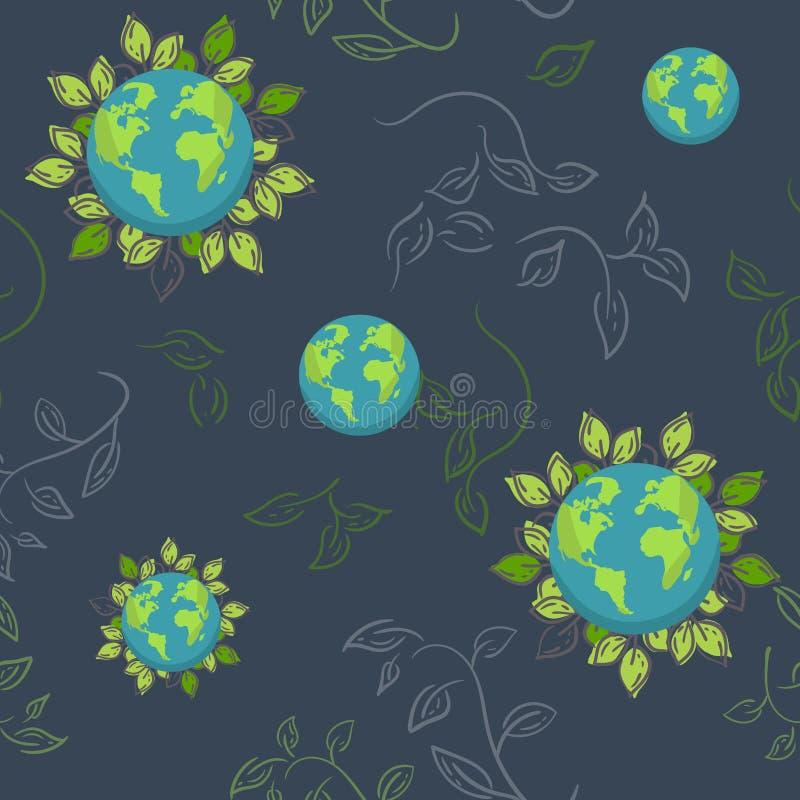 地球 与叶子的动画片地球 网象绿化愉快的自然字符 爱生态地球行星世界地图无缝的样式 库存例证