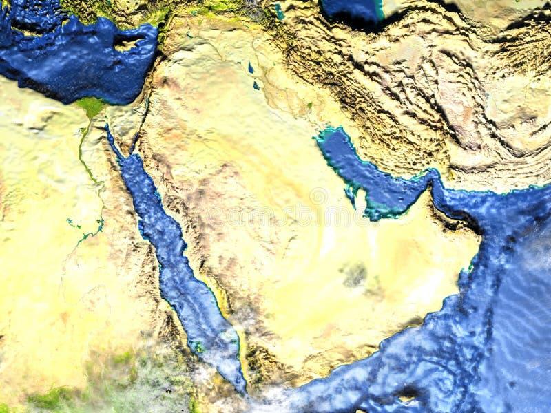 地球-可看见的海底上的阿拉伯半岛 皇族释放例证