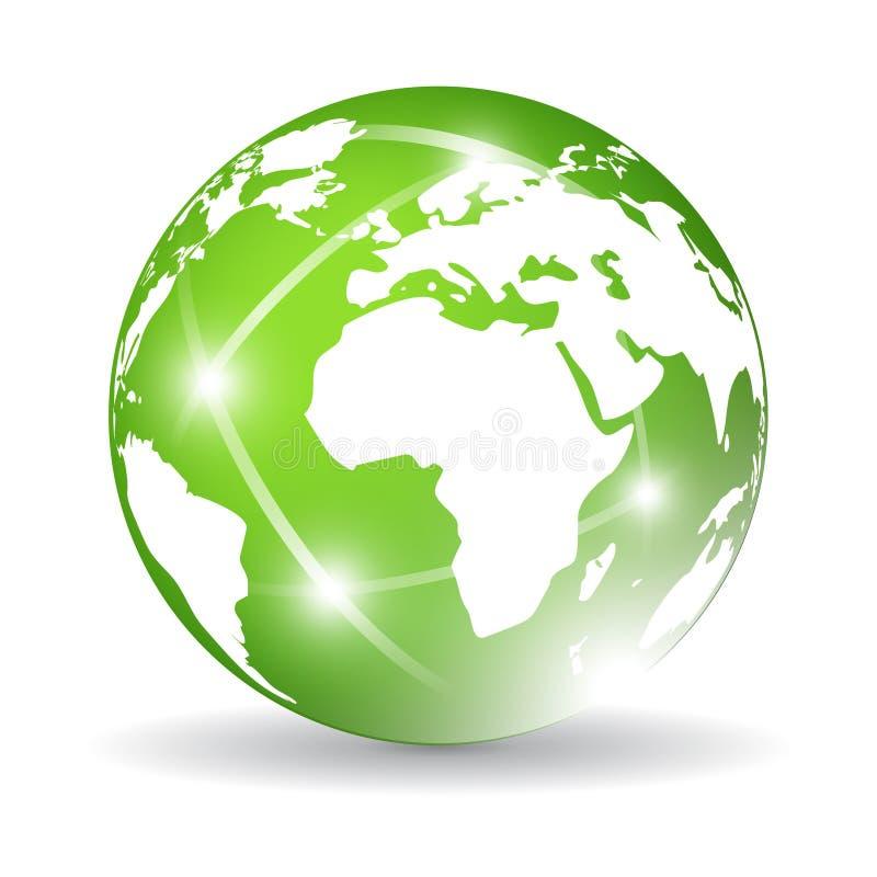 地球绿色图标 向量例证